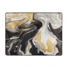 Abstract Black And Gold Swirl Liquid Ink Marble Soft Carpet Easy Clean Stain Fade Resistant bedroom.63*48inch,Polyester.
