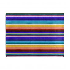Abstract Colorful Lines Soft Carpet Easy Clean Stain Fade Resistant coffee table.63*48inch,Polyester.