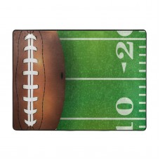 American Football Field And Ball Realistic Vivid Illustration College, Green Brown White Soft Carpet Easy Clean Stain Fade Resistant coffee table.63*48inch,Polyester.