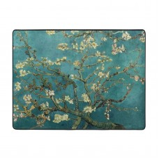 Apricot Flowers Soft Carpet Easy Clean Stain Fade Resistant office.63*48inch,Polyester.