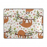 Cute Sloth On The Tree With Funny Soft Carpet Easy Clean Stain Fade Resistant kitchen bedroom.63*48inch,Polyester.