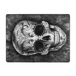 Sugar Skull Pattern Black Soft Carpet Easy Clean Stain Fade Resistant living room.63*48inch,Polyester.
